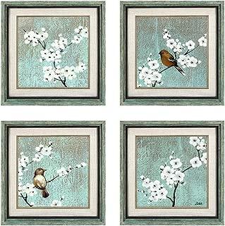Dzhan Bird Wall Art, 16.7x16.7 Inches 4 Pcs Framed Art Wall Decor, Free Bird and Plum Flower Canvas Art, Wall Art for Living Room, Bedroom, Office, Gifts