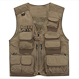 YANXH Men's Multi Pockets Vest Outdoor Fishing Working Camping Photography Gilet, Khaki, XL