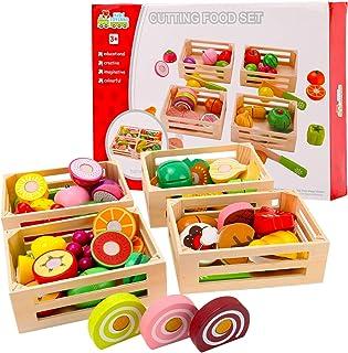 58 قطعة قطع قطع الفاكهة مجموعة خشبية لعب الطعام، مطبخ ألعاب الخضروات تظاهر الطعام لعب للأطفال ألعاب المطبخ التعليمية