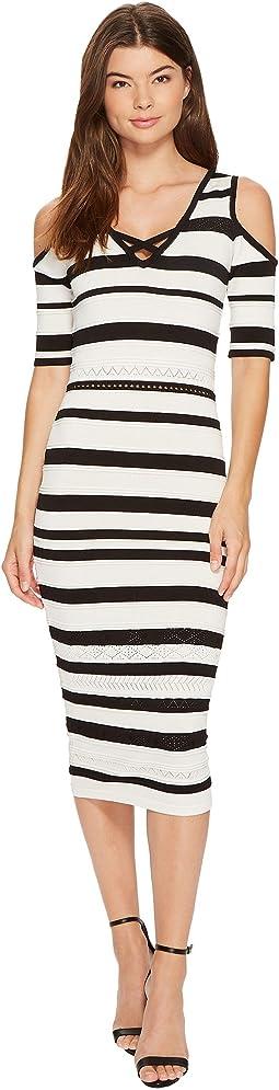 Pointelle Stitch Stripe Midi Dress