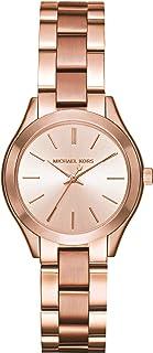 ساعة ميني سليم رانواي للنساء بسوار مطلي بالذهب الوردي من مايكل كورس، طراز MK3513