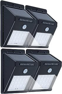 Aokairuisi Solar Light 20 LED Wireless Waterproof Motion Sensor Light for Outdoor Patio Path Driveway Porch Garden Yard, 4 Pack