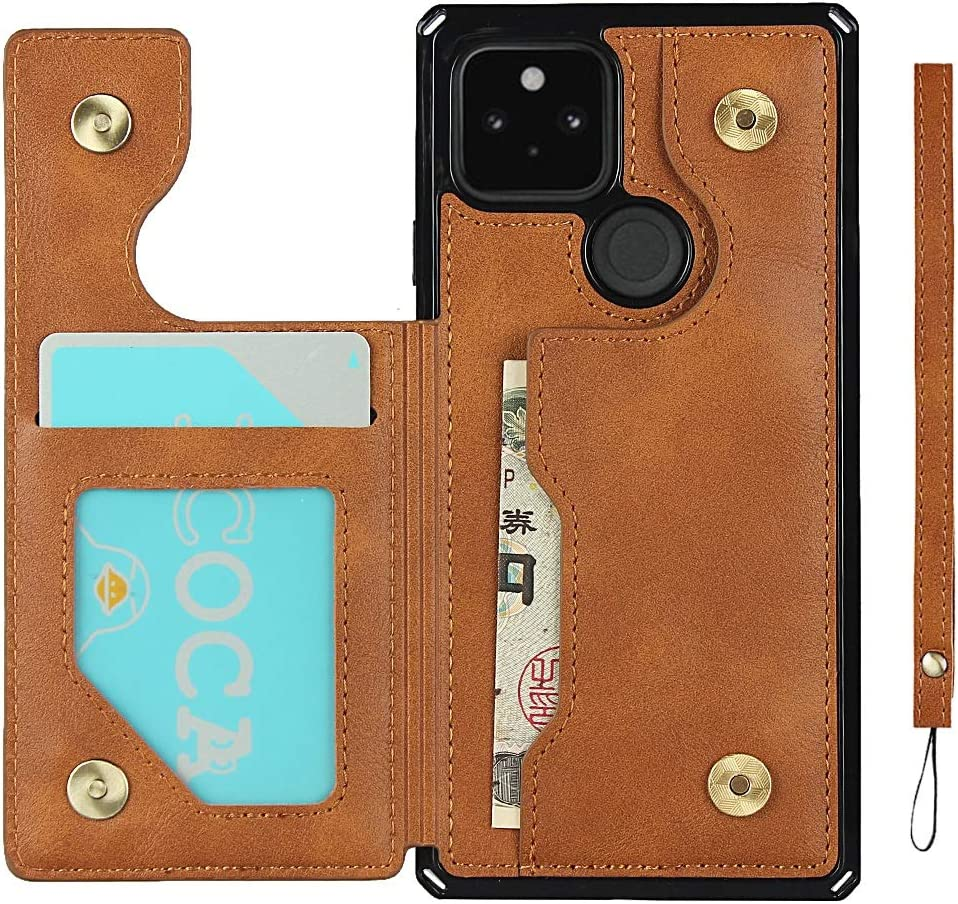 Google Pixel 5 5G Flip Phone Case Wallet,Premium PU Leather Kickstand Card Slots Case,Double Magnetic Clasp and Durable Shockproof Cover 6.0 Inch (Brown)