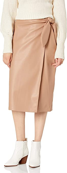 The Drop Women's Manon Faux Leather Wrap Front Midi Skirt