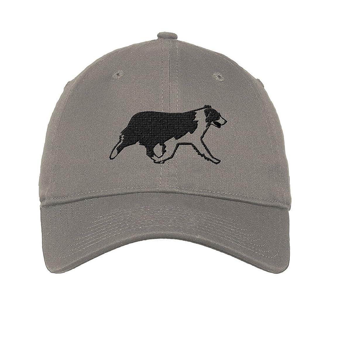 Australian Shepherd Dog Silhouette Twill Cotton 6 Panel Low Profile Hat Light Grey