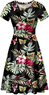 AFPANQZ Knee Long Dresses Women Short-Sleeve A-line Scoop Neck T-Shirt Dress