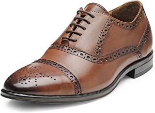 TEAKWOOD Men's Real Genuine Leather Cap Toe Oxford Brogues Shoes