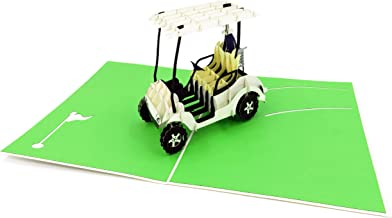 Golf Cart 3D Pop Up Greeting Card - Retirement, Happy Birthday Card, Fathers Day Card, Golf Gifts for Men, Golf lovers, Go...