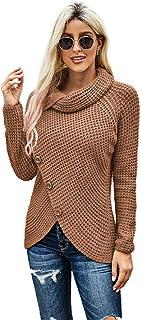 PKYGXZ Suéter de Cuello Alto Suéter de Manga Larga con Botones asimétricos para Mujer Jerséis de Punto con Cable Mantener ...