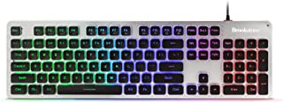 Brookstone USB Wired Gaming Keyboard with Multi-Color LED Ba