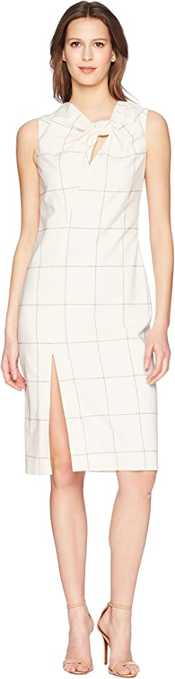 Windowpane Wool Sheath Dress w/ Knot Detail