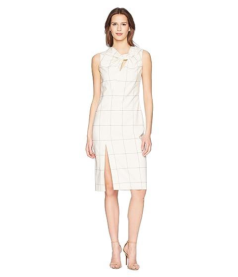 adam lippes windowpane wool sheath dress w/ knot detail