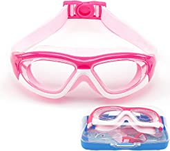 Swim Goggles for Kids (3-15 Year Old), Waterproof Swimming Googles Glasses Large Frame Anti Fog UVA/UVB Protection and No Leak Soft Silicone Gasket Teens Boys Girls with Free Protection Case SG28