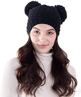 Lullaby Beanie for Women Pompom Mouse Ears Thick Cable Knit Beanie Hat