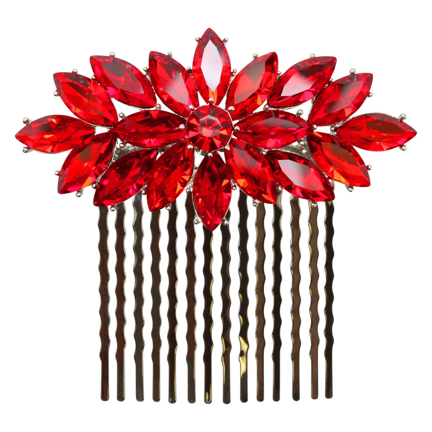 Faship Red Rhinestone Crystal Hair Floral Charlotte Sales of SALE items from new works Mall Comb