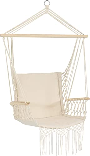 wholesale Sunnydaze Polycotton Hammock Chair high quality with Armrests - popular Comfortable Outdoor Hanging Chair - Polycotton Fabric with Hardwood Spreader Bar - 300-Pound Weight Capacity - Natural online