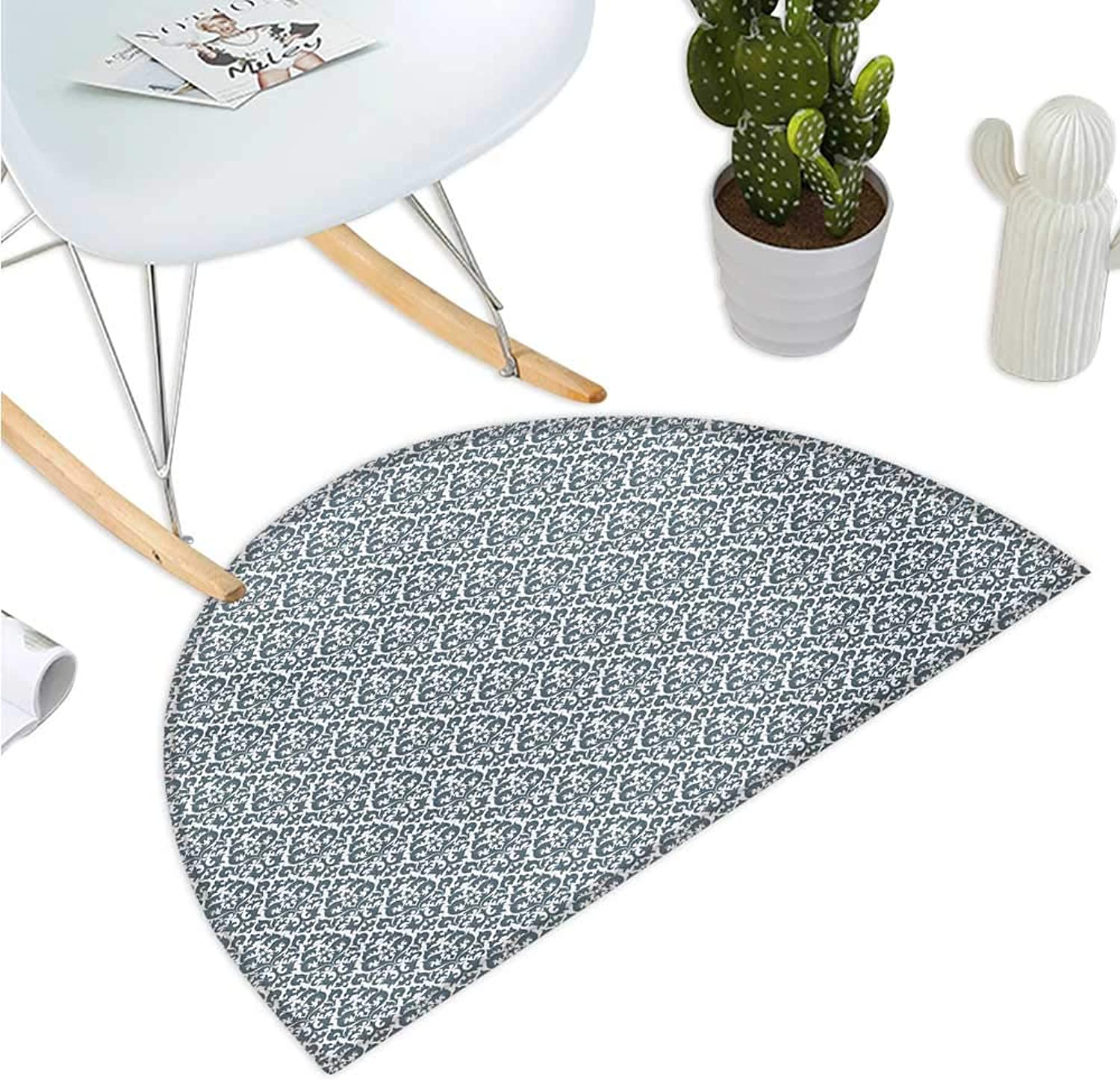 Damask Half Round Door mats Curvy Repeating Renaissance Motifs Inspired by Nature Vintage Design Curls Leaves Entry Door Mat H 39.3  xD 59  Grey White