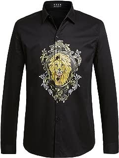 SSLR Men's Lion Prints Regular Fit Long Sleeve Casual Button Up Shirts