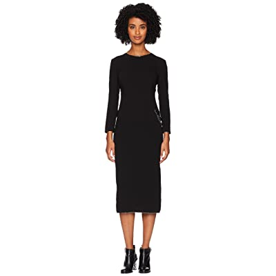 Boutique Moschino Long Sleeve Dress with Chain and Slit (Black) Women