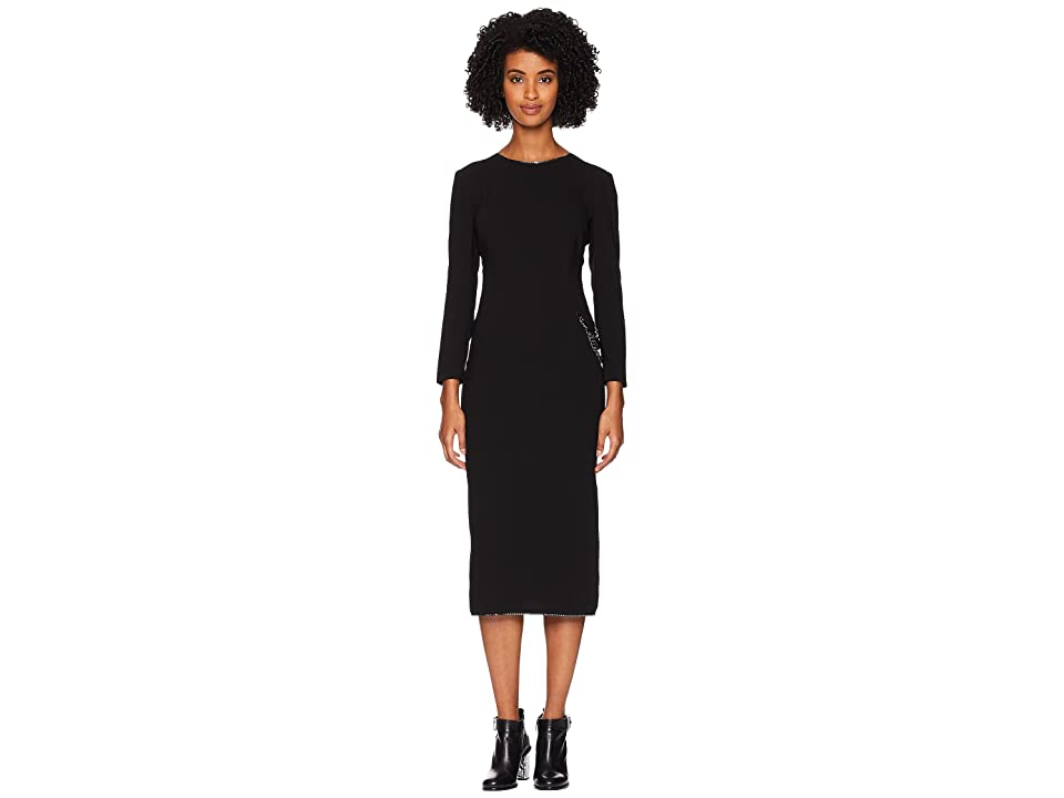 67cb5cf83a Boutique Moschino Long Sleeve Dress with Chain and Slit (Black) Women