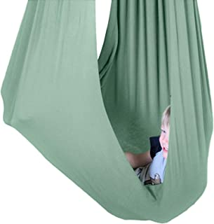 SENSORY4U Indoor Therapy Sensory Swing for Kids with Special Needs (Hardware Included) | Snuggle Cuddle Hammock for Kids with Autism, ADHD, Aspergers | Great for Sensory Integration (Sage Green)