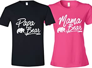 Texas Tees Matching Shirt for Couples Mom & Dad, Includes Papa Bear Shirt & Mama Bear Shirt