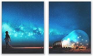 Anime Lightbulb Prints - Set of 2 (8x10) Glossy Japanese Painting Wall Art Decor