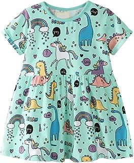 Vestidos de Bebé Niña, Vestidos Lindos de la Ropa de Verano Vestidos de Falda de Manga Corta de impresión de algodón para ...