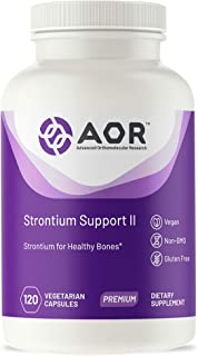 AOR, Strontium Support II, Mineral Support for a Healthy Skeletal System and Bone Growth, Vegan, Non-GMO, Gluten-Free, 120 Capsules (120 Servings)