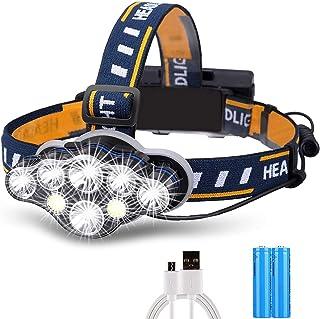 LEDヘッドライト USB充電式 ヘッドランプ 釣り用 防水IP45 小型軽量 アウトドア ヘルメット ライト 角度調節可能 高輝度 8種モード 赤&白ライトモード&SOSモード 登山 夜釣り ランニング 作業 自転車ライト兼用 防災 地震 停...