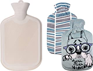 WINNPRIME Hot Water Bottle 2 Liters, Natural Rubber Hot Water Bag with 2 Replaceable Soft Fleece Covers, Great for Pain Relief, Hot Compress and Heat Therapy