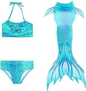 Wiwsi Mermaid Tail Swimsuit Bathwear Kids Girls Cosplay Beach Swimming Bikinis