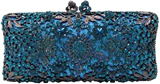 Your only brother Women's Luxury Party Party Diamond Sequins Glossy Evening Floral Pattern Wedding Bride Bridesmaid Dress Clutch Chain Shoulder Tote Wallet Size: 20 * 6 * 10cm (Color : Blue)