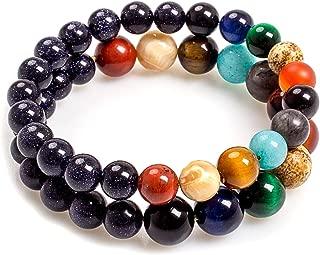 Addmluck Solar System Couple Bracelet Gifts Fashion Jewelry for Women Men Charm Gemstones Universe Galaxy The Eight Planets Bracelet