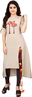 OM SAI LATEST CREATION Women's Slub-Rayon Half Sleeve Anarkli Kurti