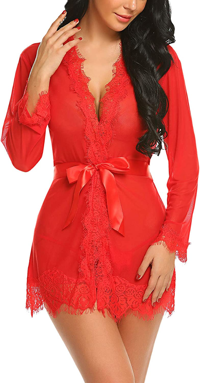 Avidlove Sexy Lace Robe Kimono Mesh Nightgown Babydoll Lingerie Set