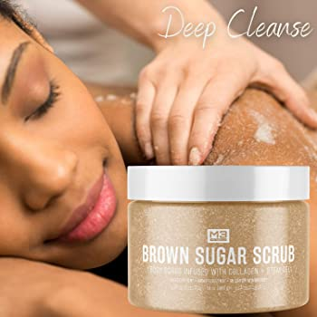 M3 Naturals 12oz Brown Sugar Body Scrub Infused with Collagen & Stem Cell - Best Exfoliating Body & Face Scrub for Ac...