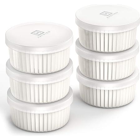Hatrigo - Ramequines de porcelana con tapas de almacenamiento de silicona, 6 unidades, color blanco, apto para horno hasta 450 grados F, apto para lavavajillas