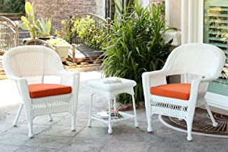 Jeco W00206_2-CES016 3 Piece Wicker End Table Set with with Orange Chair Cushion, White