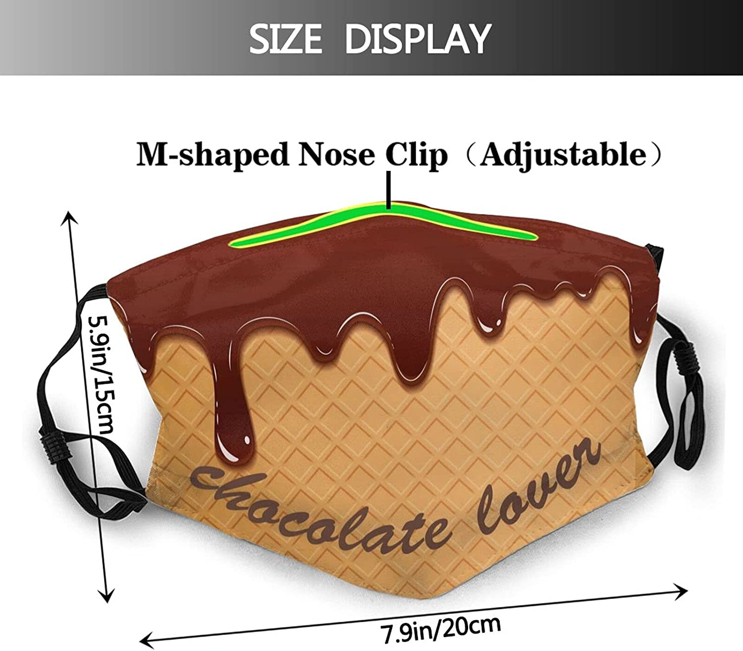 Chocolate Face Mask Scarf With Filters, Reusable Decorative Balaclava, For Adults Women & Men
