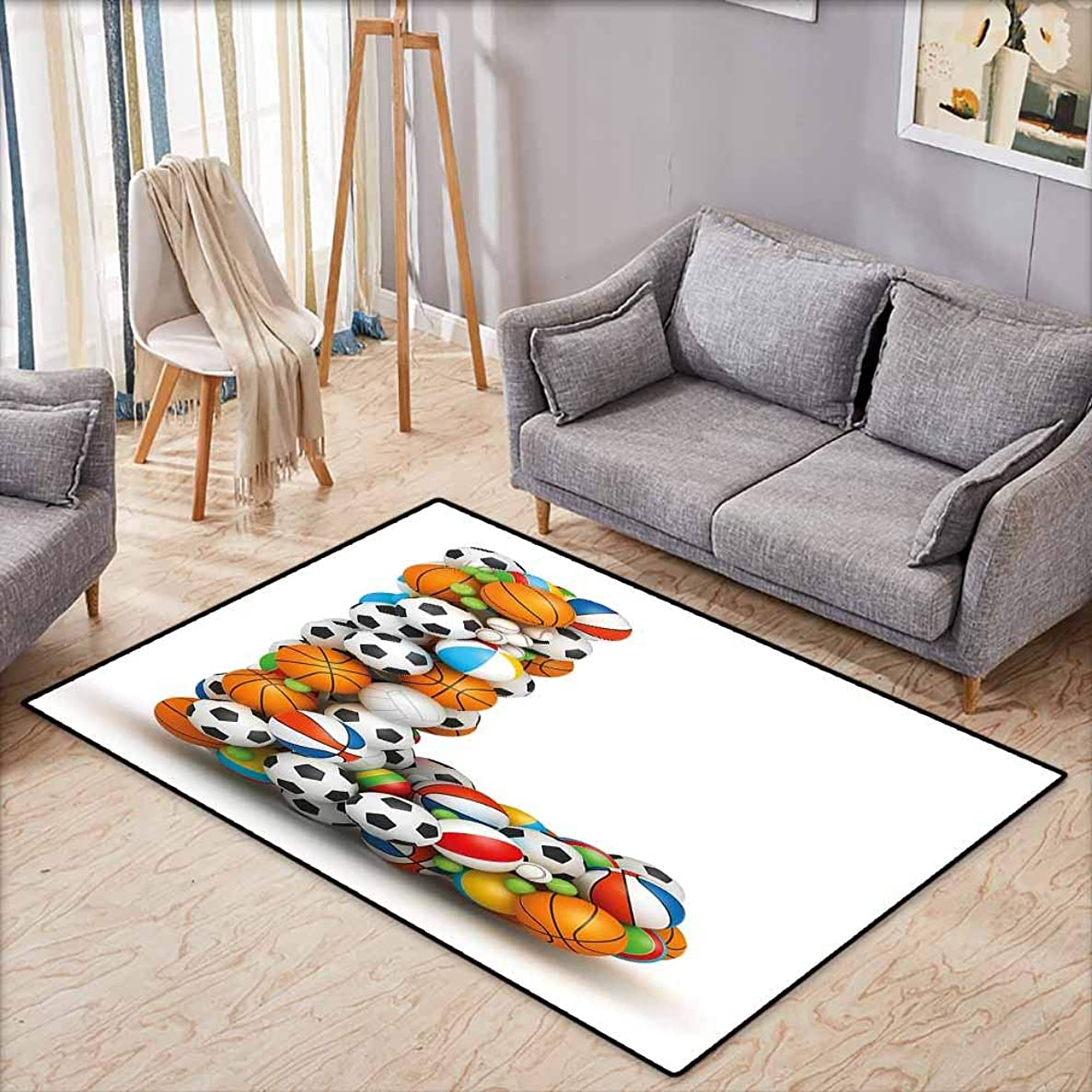 Living Room Rug,Letter L Basketball Football Volleyball Tennis Athleticism Teamplay Motivation Theme Print,Anti-Slip Doormat Footpad Machine Washable,3'11
