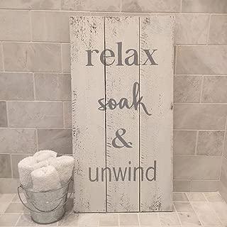 Adonis554Dan Relax Soak Unwind Sign Wood Pallet Farmhouse Sign Bathroom Art Rustic Typography