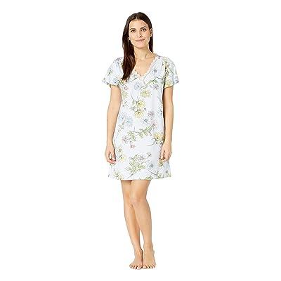 Karen Neuburger Petite Dreamer Short Sleeve Nightshirt (Floral/Light Blue) Women