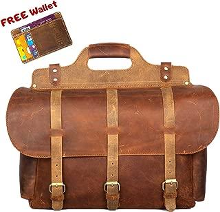 """Messenger Bag Vintage Buffalo Leather 16"""", Large Briefcase, Multiple Pockets Handmade Saddle for Shoulder Laptop Computer Distressed Satchel, for Men Women, School, College, Business"""