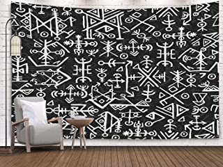 Crannel Norse Viking Symbol Pattern Magic Draw Symbols As Background Ancient Iceland Ethnic islandic Scripted Tapestry 50x60 Inches Wall Art Tapestries Hanging for Dorm Room Living Home Decorative