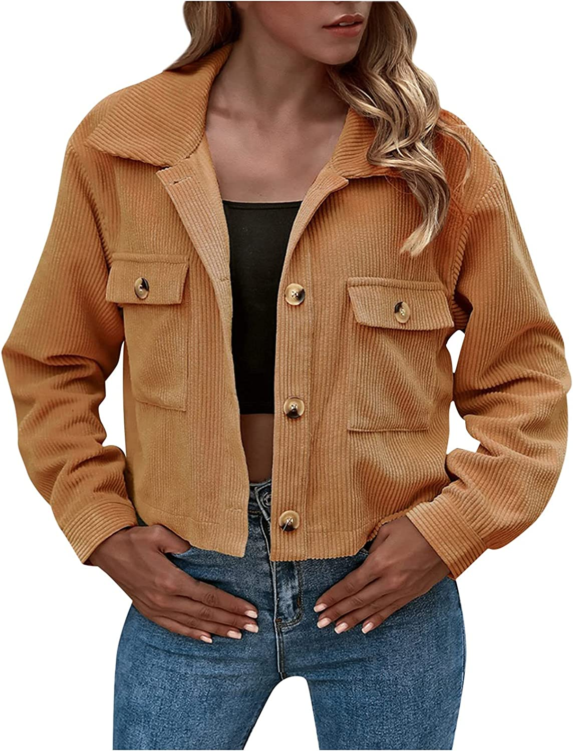 HIKO23 Womens Teen Girls Fall and Winter Coats Long Sleeve Button Down Cropped Jacket Outwear with Pockets