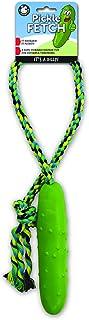 لعبة Pet Qwerks Pickle Fetch 'n Tug Rope Toy - قوية للكلاب التي تمضغ بشراسة، ألعاب تفاعلية تصدر أصوات زقزقة للملل، لعبة حل...