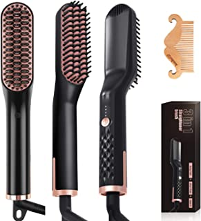 Wirhaut Beard Hair Straightening Brush for Men and Women - Anti-Scald Electric Ionic Heated Beard Hair Straightening Comb - Hair Styler Electric Hot Comb for Home and Travel
