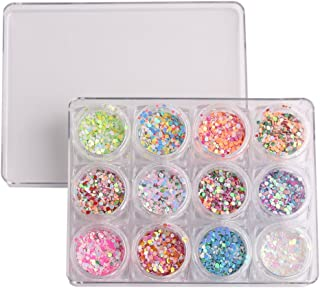 WOKOTO 12 Box 1mm 2mm 3mm Mixed Color And Size Confetti Nails Shiny Round Ultrathin Sequins Nail Art Decoration Set