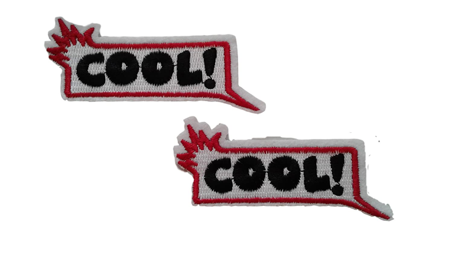 2 pieces COOL WORD Iron On Patch Applique Motif Biker Symbol Decal 3.4 x 1.7 inches (8.5 x 4.3 cm)